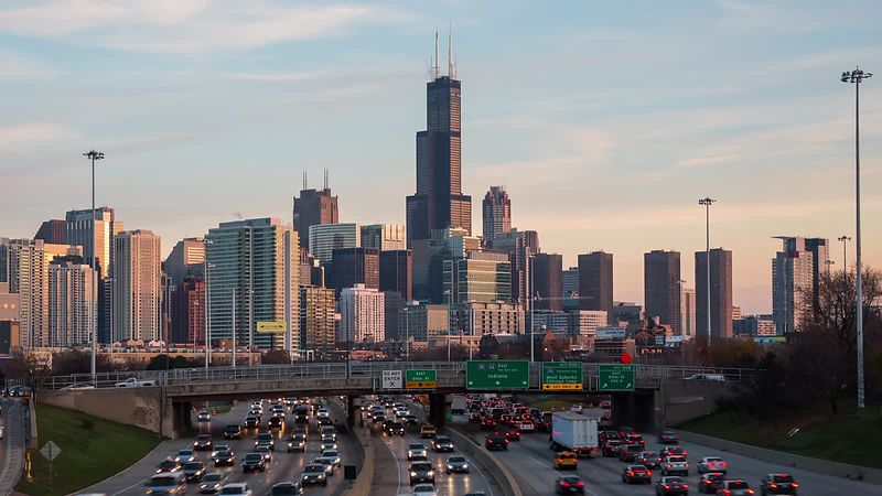 chicago traffic skyline celebrity slice